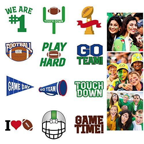 LUOEM 72 Pcs Football Face Tattoos Football Temporary Tattoo Football Sports Face Body Stickers for Football Birthday Theme Party Sports Event Game Party Favor Supply - 6 Sheet