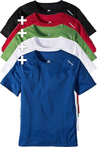 Nordcap 5er Pack Funktionsshirts, Fitness T-Shirts für Herren & Damen in knalligen Farben, atmungsaktive Sportkleidung, Sportshirt, Größe: S - 4 XL