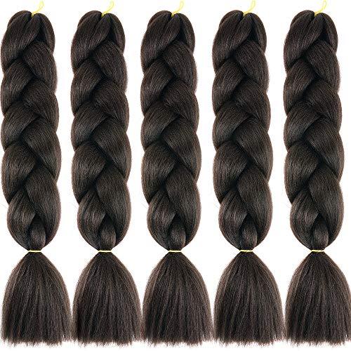Jumbo Flechten Haarverlängerung Braids Extensions 5 Bündel Kunsthaar Kanekalon Synthetik Crochet Hair Box Braiding (Mittel braun)