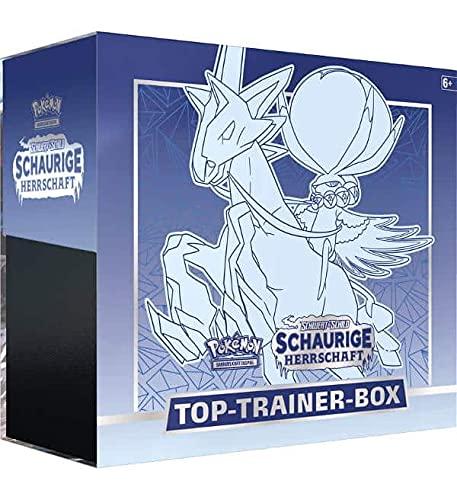 Pokemon Top Trainer Box - Schaurige Herrschaft - Schimmelreiter Coronospa - Schwert & Schild Edition - Deutsch + 100 x Heartforcards ® Card Guard Sleeves