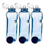 Trinkflasche 3 x 1 L Wasserflasche Tritan BPA frei + 3 x Trinkdeckel Flip Top