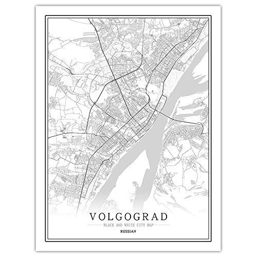 Stampa su Tela, Volgograd Russia Mappa della Città Dipinto Nero Bianco Semplice Arte Murale Poster Senza Cornice Immagine, Pittura Verticale caffè Ufficio Decorazioni per La Casa,70 * 100cm