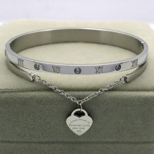 Yarmy Rose Gold Edelstahl Armbänder Armreifen Weiblichen Herz Für Immer Liebe Armband Für Frauen