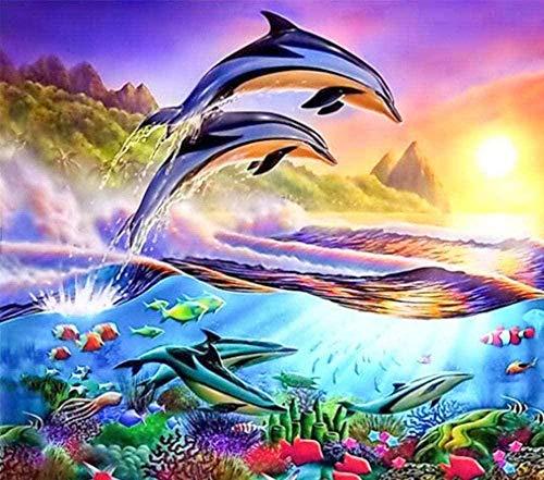 Kits Estampados de punto de cruz Buceo de dos delfines 16x20 pulgadas Adecuado para principiantes adultos, niños Kits de 11CT punto de cruz contado,Para decoración de salón