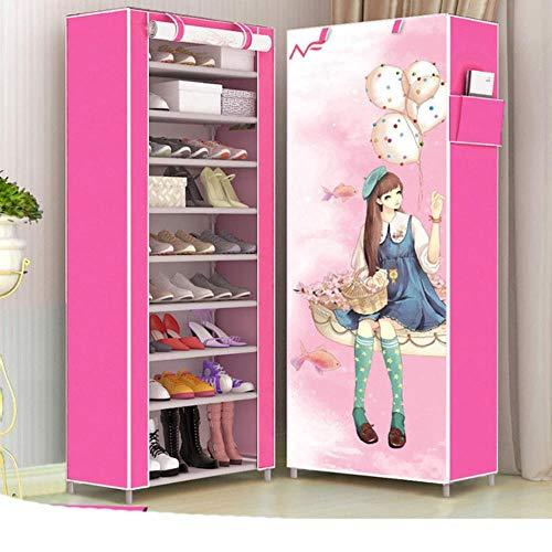 Estante de zapatos de tela no tejida multicapa a prueba de polvo para el hogar ahorro de espacio organizador de zapatos armario plegable zapatero chica mágica