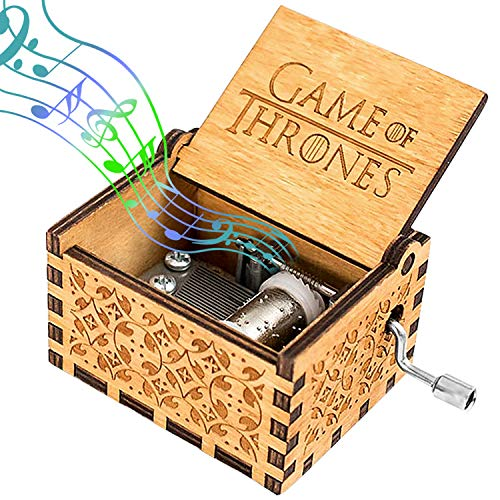 Hölzerne Handkurbel Spieluhr, Holz Spieluhr, Game of Thrones Spieluhr, Antike Geschnitzte Musik Box Holz für Kinder, Freunde, Weihnachten Kinder