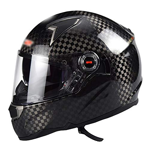 BBJZQ Fibra De Carbono Motocross Helmet Adult,Off-Road Motorcycle Helmet Kit Casco Integral...