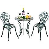 COSTWAY Conjunto de Mueble para Jardín con 1 Mesa y 2 Sillas de Fundición y Aluminio para Terraza Exterior Patio