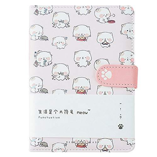 CLARA Cute Cat Notebook Japanese Sketchbook PU Leather Cover Diary Travel Notebook