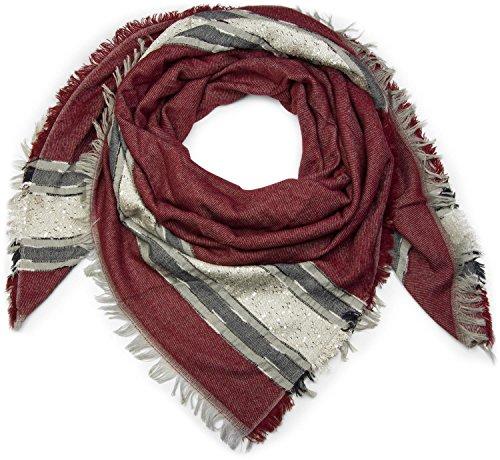styleBREAKER XXL Viereckstuch mit Pailletten und Streifen, Fransen, Winter Schal, Tuch, Damen 01017056, Farbe:Bordeaux-Rot