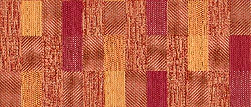 Raumausstatter.de Möbelstoff Waldsachsen 125 Kariert orange rot, als robuster Bezugsstoff, Polsterstoff bunt Gemustert zum Nähen und Beziehen,Polyacryl, Polyester, Fleckschutz
