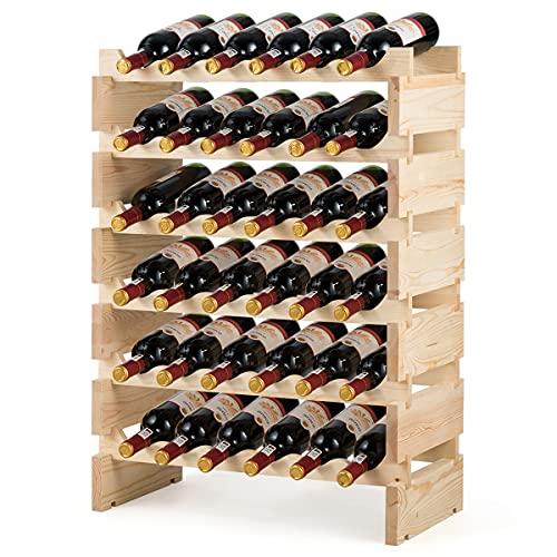 Nafort 36 Bottle Wine Rack - Pine Wood Stackable Modular Display Wine Storage Shelves, 6 X 6 Rows 36 Slots