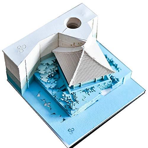 DIY Art Block 3D Haftnotizen Praktische Aufkleber Papier Karten Basteln Japan Kreative Post Notizen Memo Pads Neuheit Notizpapier House Blue