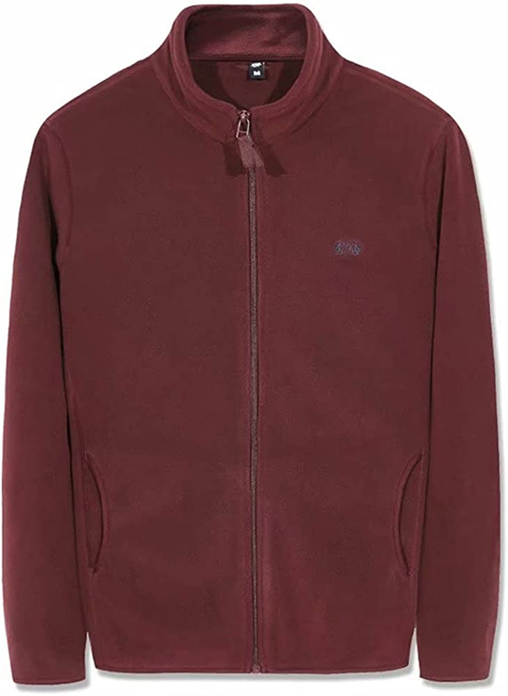 SHOOYING Men's High Collar Zip Up Polar Fleece Jacket Coat with Pockets