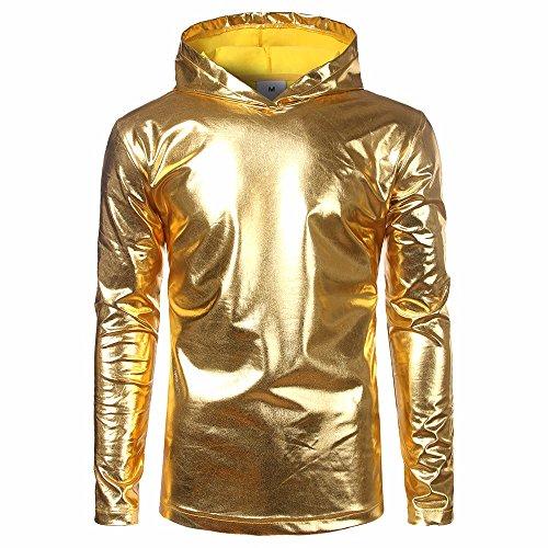 ZZBO Herren Lackleder Hip Hop Pollover Hoodie Hipster Tops Shirt Sweatshirts Hoody Jacke T-Shirt Herren Jack Oversize Jumper Pullover Slim Fit S-2XL