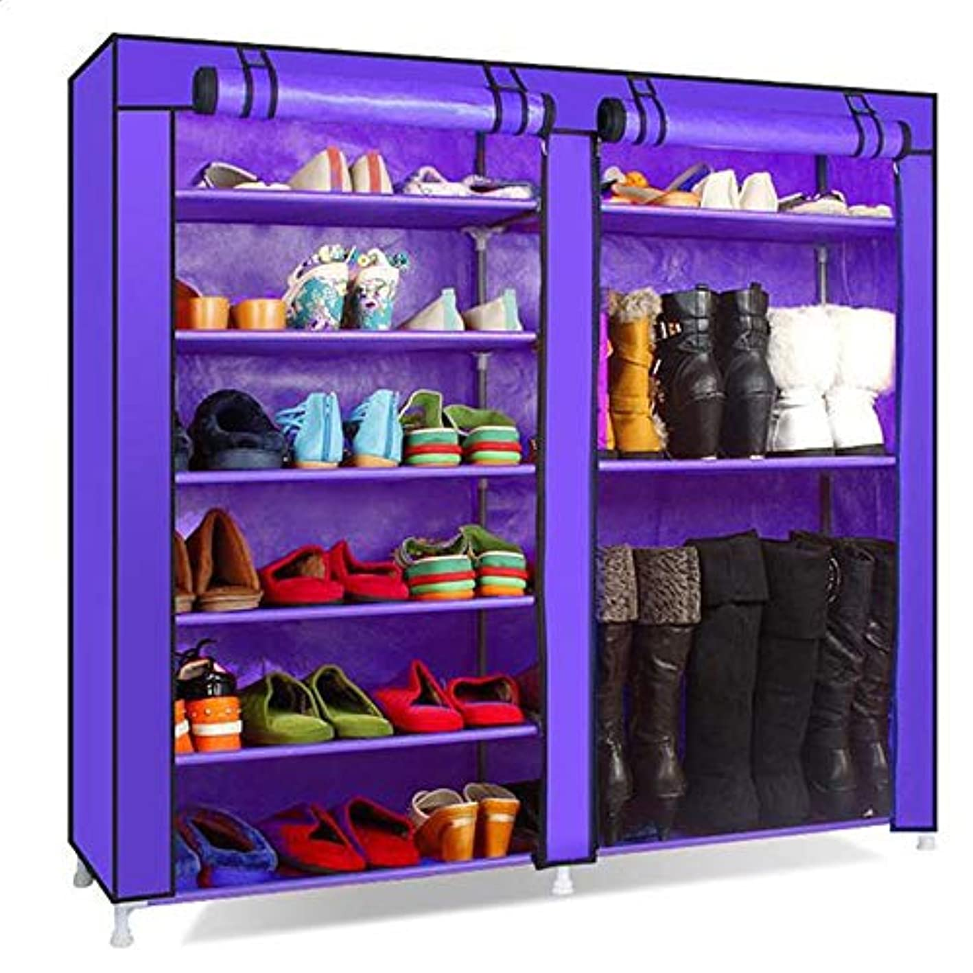 YYAO Shoe Rack Combination Style Double Rows 9 Lattices Storage Organizer Shoe Cabinet Closet Stackable Shelf Tower with Non-Woven Fabric Cover,Purple