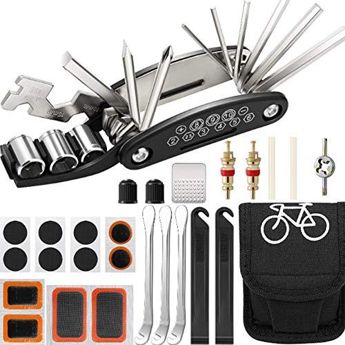Guijiyi Kit de Herramientas para Bicicleta,16 en 1 de Herramientas Multifunción para Reparación de Pinchazos Bicicleta con Kit de Parche y Palancas para Neumáticos,Llave y Destornillador Integrados
