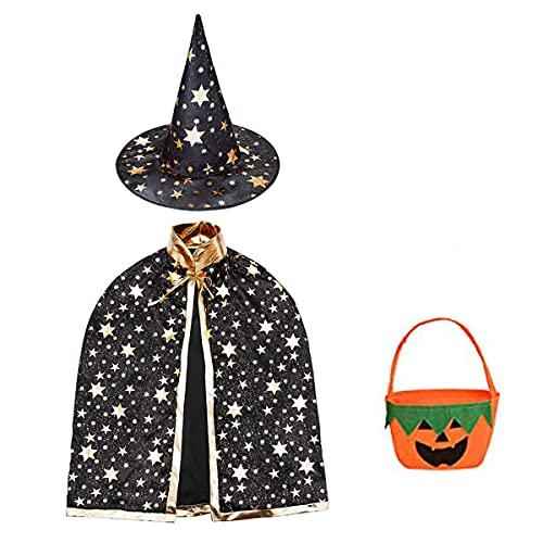 Halloween disfraz nio mago capa, Disfraz bruja bebe unisex(2 -13aos)con Sombrero de mago con Bolsa caramelos, Infantil de Cosplay Fiesta espectculo de escenario disfraces de halloween (Negra)