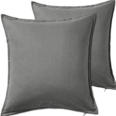 2 Pack Solid Gray Decorative Throw Cushion Pillow Cover Cushion Sleeve for 20 x 20  Insert , 100 Percent Cotton