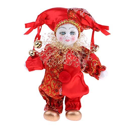 SM SunniMix Muñecas de Porcelana, Muñeca Arlequín Coleccionable de 16 Cm de Altura en Traje Rojo, Regalos Creativos de San Valentín para él O Su Novia