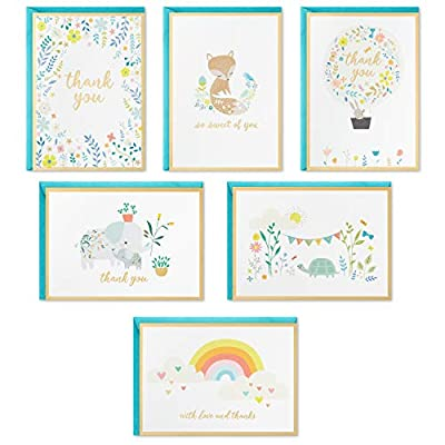 Hallmark Baby Shower Thank You Cards Assortment, Animals and Flowers (24 Cards with Envelopes for Baby Boy or Baby Girl) from Hallmark
