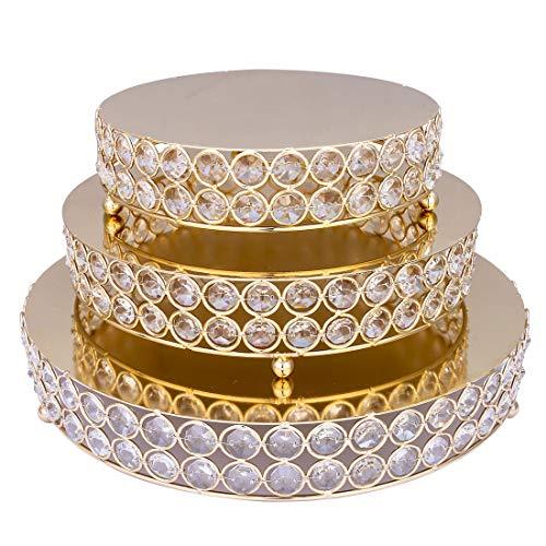 H&D - Set di 3 alzate rotonde in metallo per dolci Colore dorato1