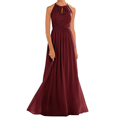 8e849dc029e Annadress Women s Halter Lace A-Line Chiffon Floor-Length Bridesmaid Dress