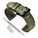 Vinband Correa Reloj Calidad Alta Nylon Correa Relojes - 18mm, 20mm, 22mm, 24mm Correa Reloj con Hebilla de Acero Inoxidable (18mm, Verde Militar)