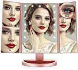 FASCINATE Espejo Maquillaje con Luz, Espejo de Mesa Tríptica Espejo con Aumentos 10x, 3X, 2X, 1x...