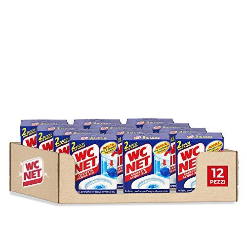 Wc Net Cassetta Wc Acqua Blu, Detergente Solido con Azione Anticalcare, 2 Pezzi x 12 Confezioni