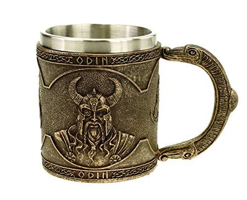 Vogler 816-934 Wikinger Krug Odin mit Metalleinsatz Becher Odin Nordmänner