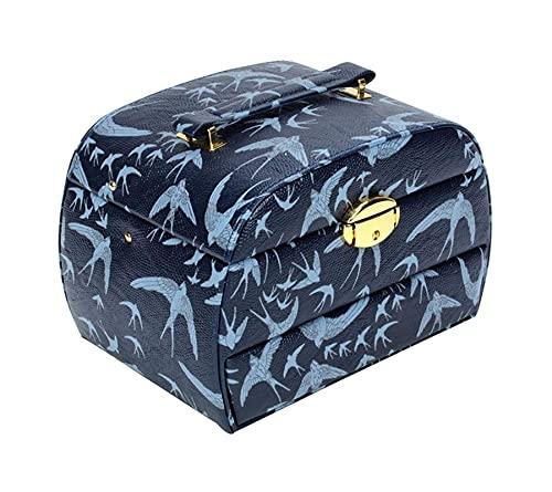 SSHA Joyero Caja de Almacenamiento de Joyas de Viaje, Organizador de Caja de joyería 3 Capas con cajón de Espejo Apertura semiautomática de Apertura y Cierre de Cuero para Pendientes Anillos Collares