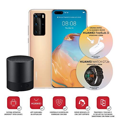 """Huawei P40 Pro Smartphone i głośnik Bluetooth, wyświetlacz akustyczny 6.58 """", cztery aparaty Leica 50 + 40 + 12MP i czujnik TOF, Kirin 990 5G Octa Core, złoty (wersja włoska)"""