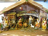 Bergbauern Weihnachtskrippe mit 10 Fachbeleuchtung und Figuren