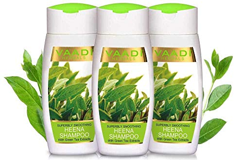 Vaadi Herbals Organic Superbly Smoothing HEENA SHAMPOO Anti Dandruff with Green Tea Extracts - Hair Fall Damage Control - For Hair Loss Scalp Moisturising Treatment - Shampoo Sulphate Free 110mlx3