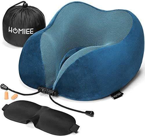 HOMIEE Reise Nackenkissen, Orthopädisches Nackenkissen, Schlafen Memory Foam Stoff Ergonomisches Nackenstützkissen für optimalen Komfort durch Beste Memory Foam Technologie