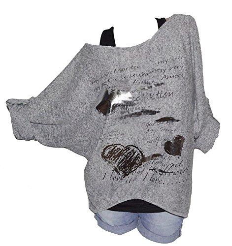 Tops SANFASHION Damen Sweatshirt O-Neck Long Sleeves Druck Plus Size lose Bluse Casual T Shirt