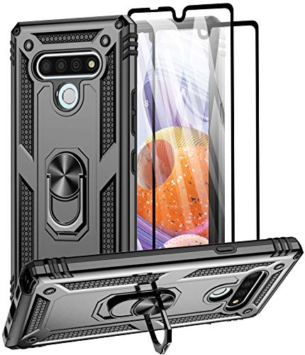 Aliruke Case for LG Stylo 6 Case with 2 Tempered Glass Screen Protector, Military Grade Drop Tested Cover Grip Ring Kickstand Protective Phone Cases for LG Stylo6, Black