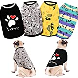 4 Pieces Pet T-Shirts Paw Printed Dog Shirt Cute Printed Puppy T-Shirts Breathable Pet Cool Clothes Puppy Shirt Sweatshirt for Dogs Pet Puppy (Vibrant Colors, Large)