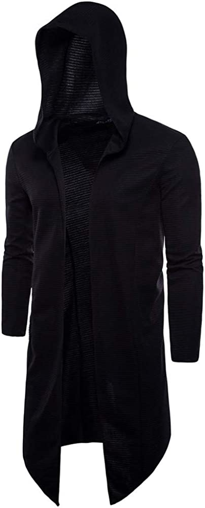 Men's Casual Solid Color Hooded Long Section Cardigan Long Sleeve Outwear Blouse Sweater