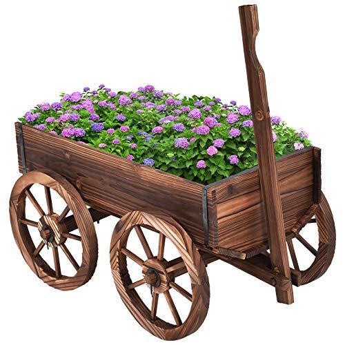 COSTWAY Blumenwagen Holz, Pflanzwagen 4 Rädern, Blumenkarre Pflanztopf Bollerwagen Garten Dekoration braun 120x43x53,5cm