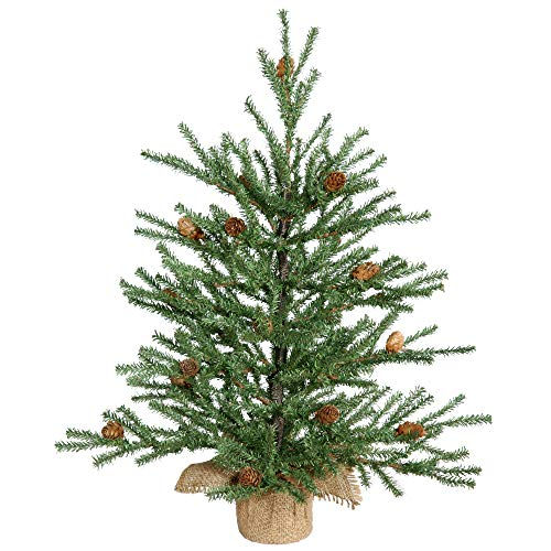 Vickerman Carmel Pine Tree with Pine Cones & 294 PVC Tips In Burlap Base, 18'