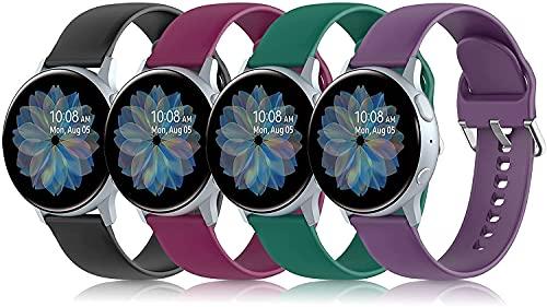 Shieranlee 4 Piezas Correa compatibles con Galaxy Watch Active/Active 2/Galaxy Watch 3 41mm/Galaxy Watch 42mm, 20mm Correa Deportiva de Silicona para AGPTEK,Blackview BV-ID205G,Blackview BV-X2,ASWEE