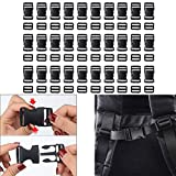Luckycivia 30 Pack 1.5 Inch Flat Side Quick Release Plastic Buckles and Tri-Glide Slides Adjustment Clips, Flat Heavy Duty Dual Adjustable Buckles for Luggage Straps Pet Collar Backpack Repairing