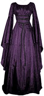 Modaworld carnevale Abito Donna Vintage Rinascimentale Medievale Abito,Manica Lunga con Cappuccio Fancy Cosplay Renaissanc...