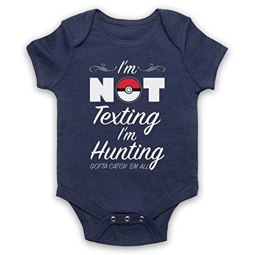 My Icon Art & Clothing Poke Go I'm Not Texting I'm Hunting Computer Game Gaming Bébé Barboteuse Bodys, Bleu Fonce, 3-6 Mois
