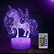 Unicorn Night Light for Kids, 3D Night Light for Kids with 16 Colors Changing, Decor Lamp with Remot...