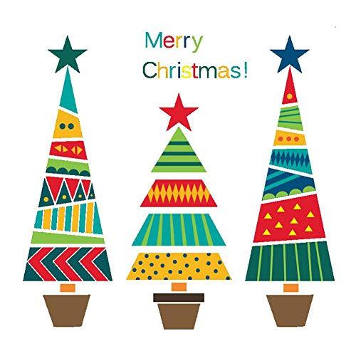Demiawaking Vetrofanie Natale per Finestre Adesivi Natalizi per Vetri Removibili Adesivi Murali Fai da Te Decalcomanie Decorazioni per la Casa di Natale (Alberi di Natale colorati)