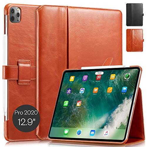KAVAJ Case Leather Cover London works with Apple iPad Pro 12.9' 2020 Cognac-Brown Genuine Cowhide Leather with Pencil Holder Supports Apple Pencil Slim Fit Smart Folio