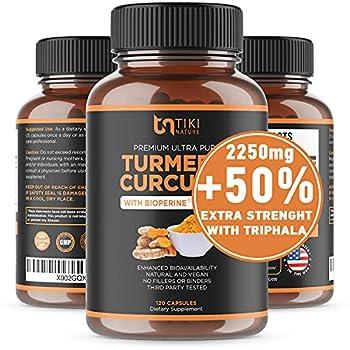Organic Turmeric Curcumin with BioPerine Ginger & Triphala 2250mg 95% Curcuminoids Maximum Potency Joint Pain Relief Healthy-Aging Non-GMO Gluten Free Anti Inflammatory Supplement 120 Caps